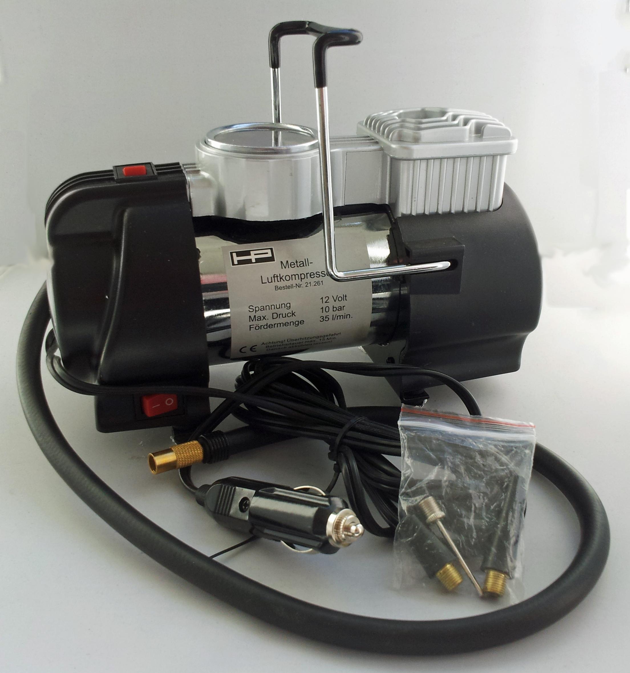 metall luftkompressor mit led 12v 10 bar hp autozubeh r 21261. Black Bedroom Furniture Sets. Home Design Ideas
